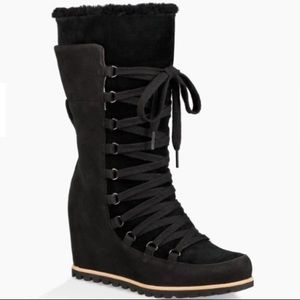 6d28a3433cd4 UGG Shoes - 🎁New Ugg Black Mason Tall wedge Laced Boots Sz 10